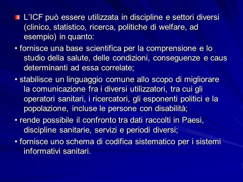 L'ICF può essere utilizzata in discipline e settori diversi (clinico, statistico, ricerca, politiche di welfare, ad esempio) in quanto: fornisce una b