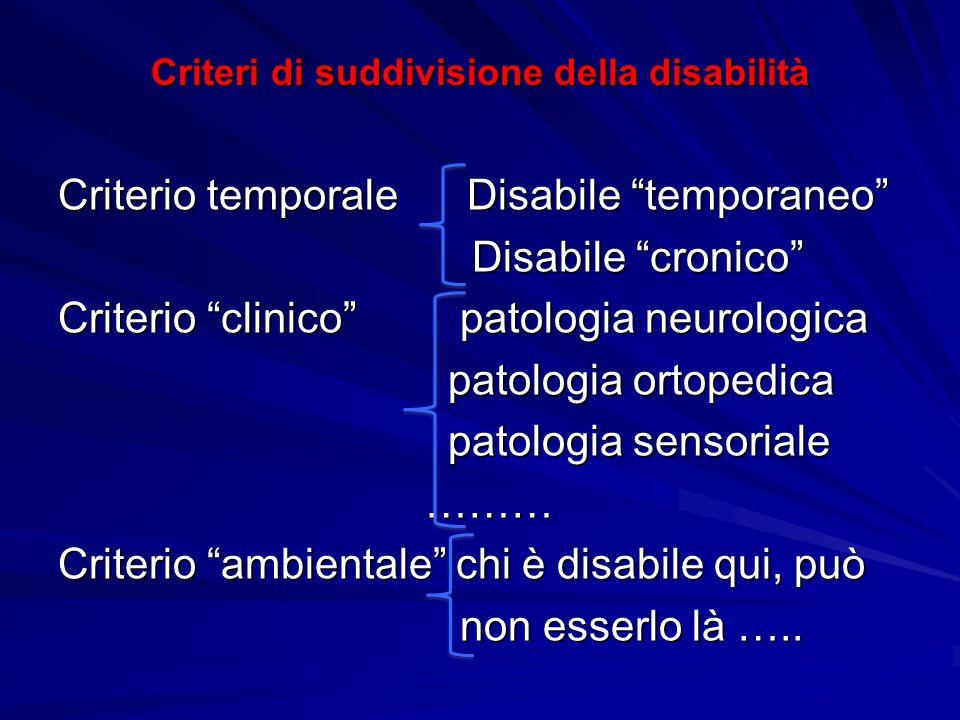 """Criteri di suddivisione della disabilità Criterio temporale Disabile """"temporaneo"""" Disabile """"cronico"""" Disabile """"cronico"""" Criterio """"clinico"""" patologia n"""