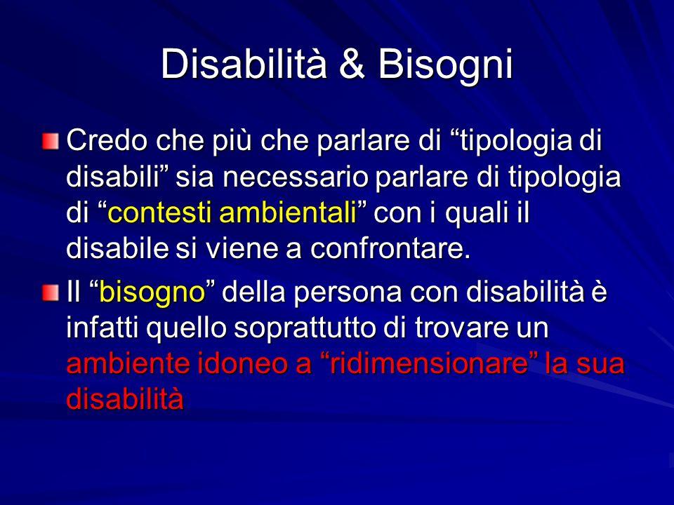 """Disabilità & Bisogni Credo che più che parlare di """"tipologia di disabili"""" sia necessario parlare di tipologia di """"contesti ambientali"""" con i quali il"""