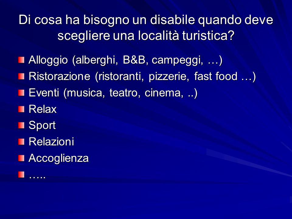 Di cosa ha bisogno un disabile quando deve scegliere una località turistica? Alloggio (alberghi, B&B, campeggi, …) Ristorazione (ristoranti, pizzerie,
