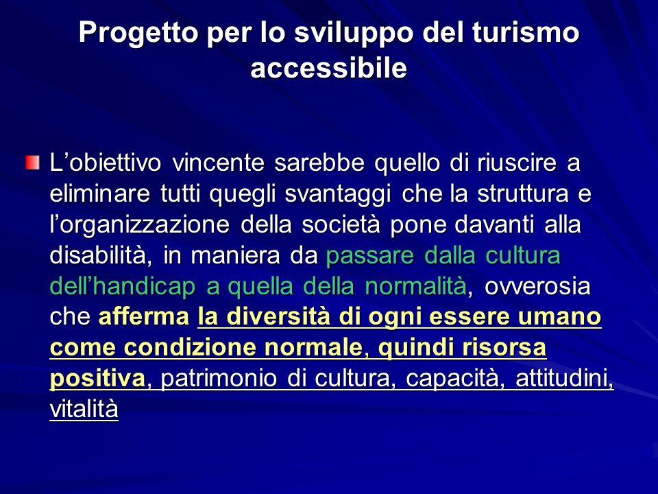 Progetto per lo sviluppo del turismo accessibile L'obiettivo vincente sarebbe quello di riuscire a eliminare tutti quegli svantaggi che la struttura e