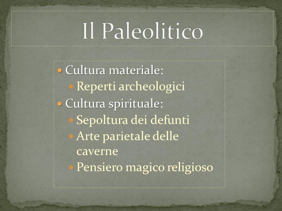 Cultura materiale Cultura materiale: Reperti archeologici Cultura spirituale Cultura spirituale: Sepoltura dei defunti Arte parietale delle caverne Pe