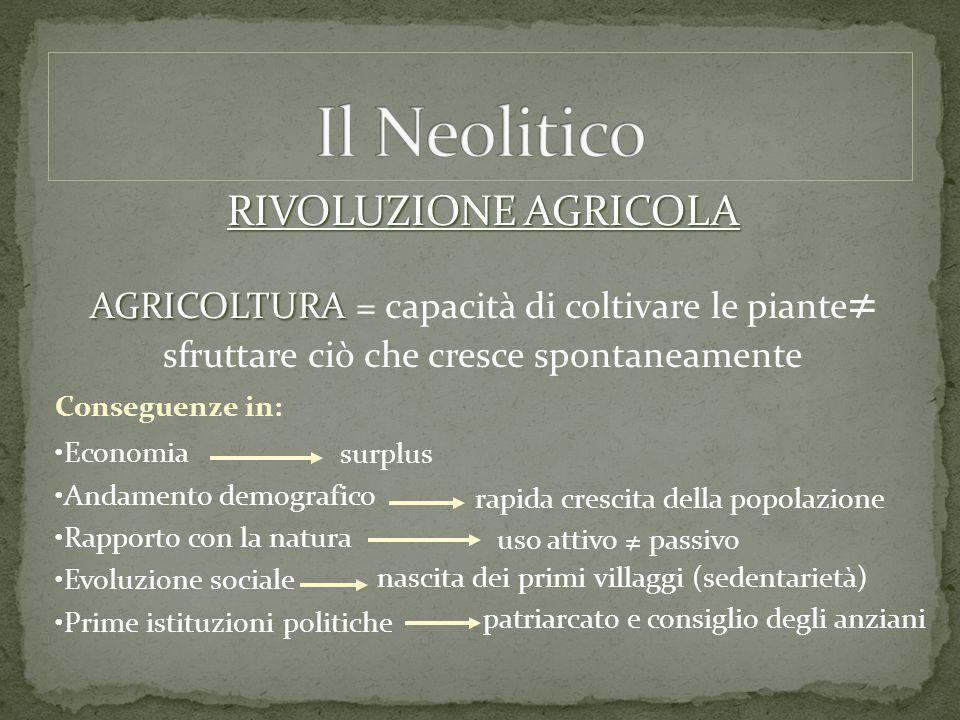 RIVOLUZIONE AGRICOLA AGRICOLTURA AGRICOLTURA = capacità di coltivare le piante ≠ sfruttare ciò che cresce spontaneamente Conseguenze in: Economia Anda