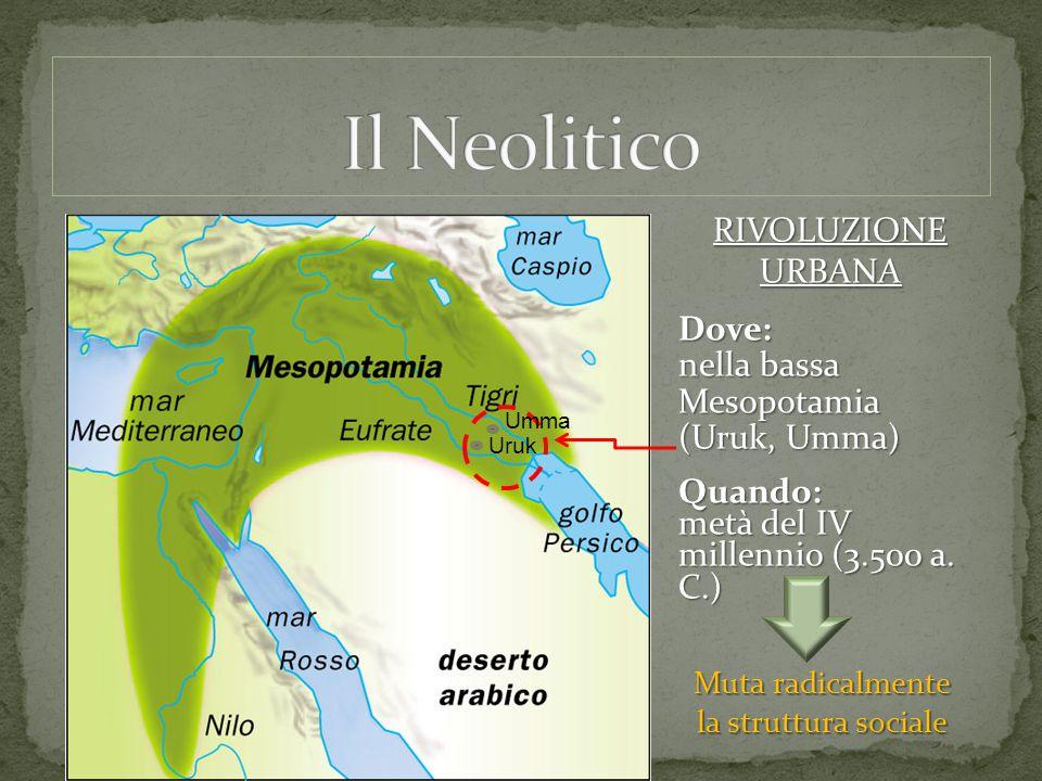 RIVOLUZIONE URBANA Dove: nella bassa Mesopotamia (Uruk, Umma) Quando: metà del IV millennio (3.500 a. C.) Muta radicalmente la struttura sociale Uruk