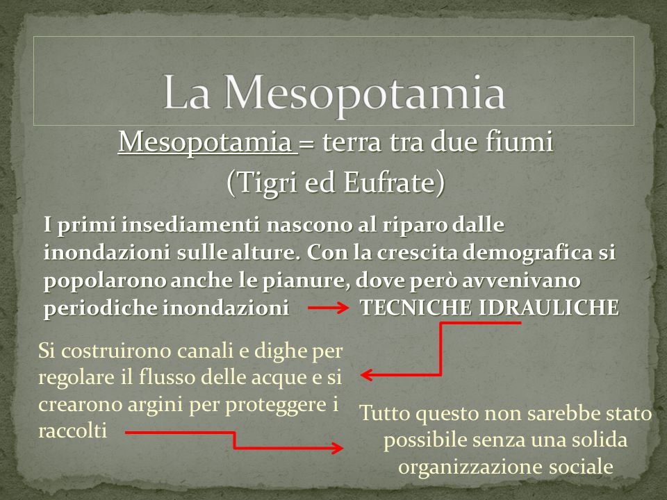 Mesopotamia = terra tra due fiumi (Tigri ed Eufrate) I primi insediamenti nascono al riparo dalle inondazioni sulle alture. Con la crescita demografic