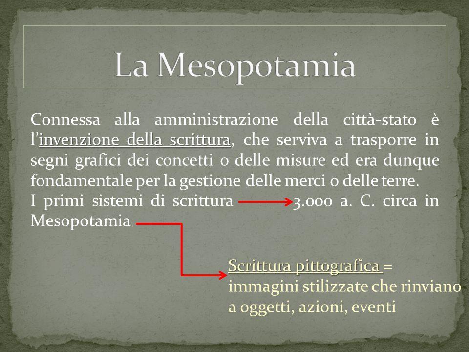 invenzione della scrittura Connessa alla amministrazione della città-stato è l'invenzione della scrittura, che serviva a trasporre in segni grafici de