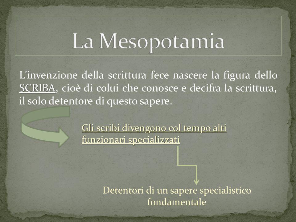 SCRIBA L'invenzione della scrittura fece nascere la figura dello SCRIBA, cioè di colui che conosce e decifra la scrittura, il solo detentore di questo