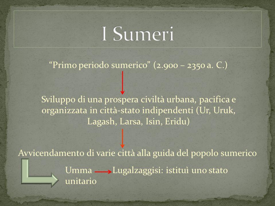 """""""Primo periodo sumerico"""" (2.900 – 2350 a. C.) Sviluppo di una prospera civiltà urbana, pacifica e organizzata in città-stato indipendenti (Ur, Uruk, L"""
