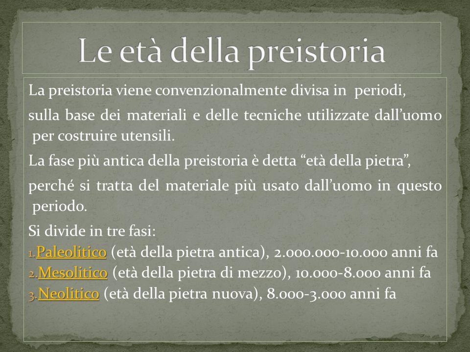 La preistoria viene convenzionalmente divisa in periodi, sulla base dei materiali e delle tecniche utilizzate dall'uomo per costruire utensili. La fas