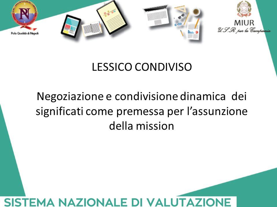 LESSICO CONDIVISO Negoziazione e condivisione dinamica dei significati come premessa per l'assunzione della mission