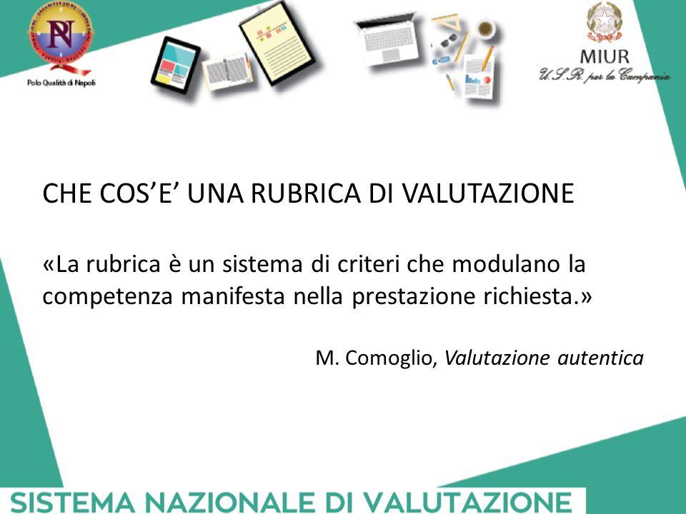 CHE COS'E' UNA RUBRICA DI VALUTAZIONE «La rubrica è un sistema di criteri che modulano la competenza manifesta nella prestazione richiesta.» M. Comogl