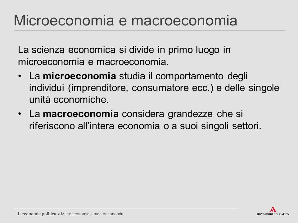 La scienza economica si divide in primo luogo in microeconomia e macroeconomia. La microeconomia studia il comportamento degli individui (imprenditore