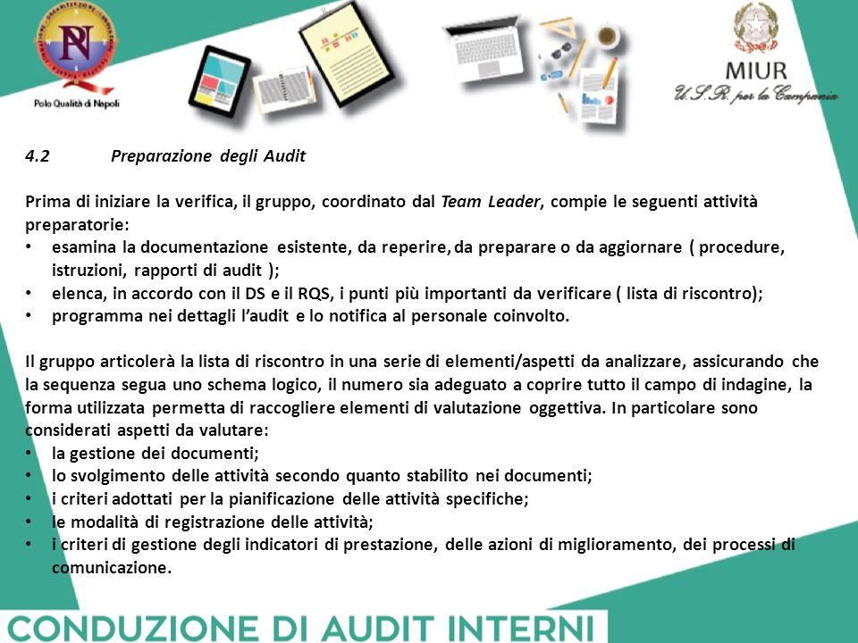 4.2Preparazione degli Audit Prima di iniziare la verifica, il gruppo, coordinato dal Team Leader, compie le seguenti attività preparatorie: esamina la