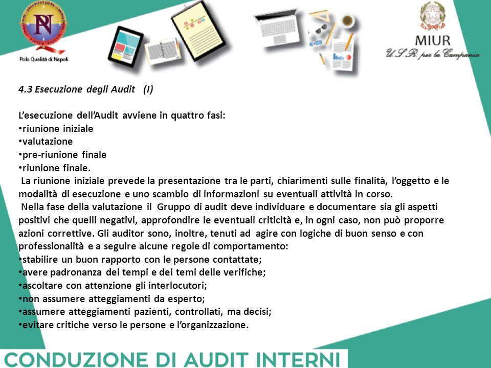 4.3 Esecuzione degli Audit (I) L'esecuzione dell'Audit avviene in quattro fasi: riunione iniziale valutazione pre-riunione finale riunione finale. La