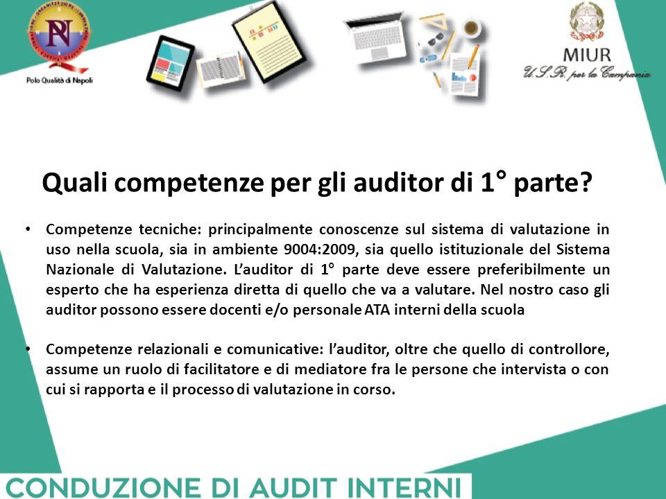 Quali competenze per gli auditor di 1° parte? Competenze tecniche: principalmente conoscenze sul sistema di valutazione in uso nella scuola, sia in am