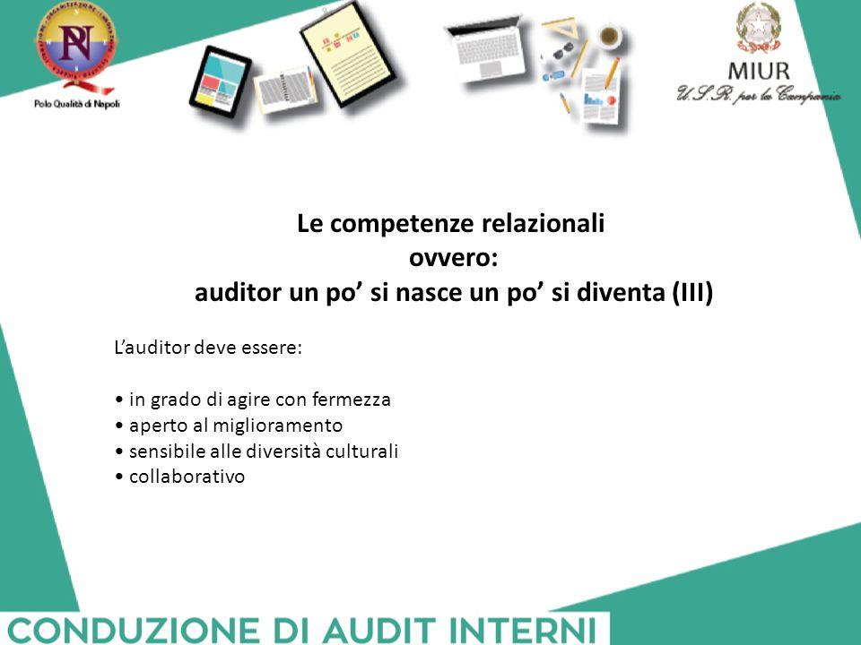 Le competenze relazionali ovvero: auditor un po' si nasce un po' si diventa (III) L'auditor deve essere: in grado di agire con fermezza aperto al migl