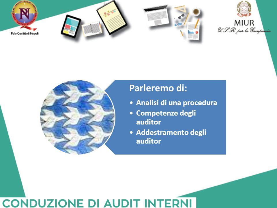 Parleremo di: Analisi di una procedura Competenze degli auditor Addestramento degli auditor