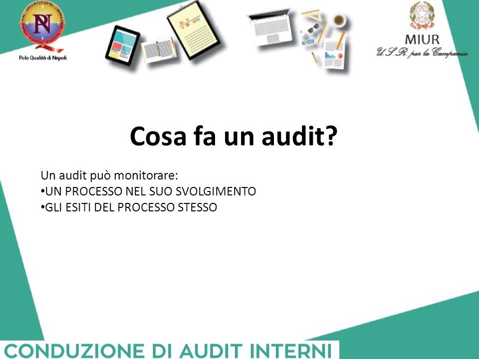Cosa fa un audit? Un audit può monitorare: UN PROCESSO NEL SUO SVOLGIMENTO GLI ESITI DEL PROCESSO STESSO