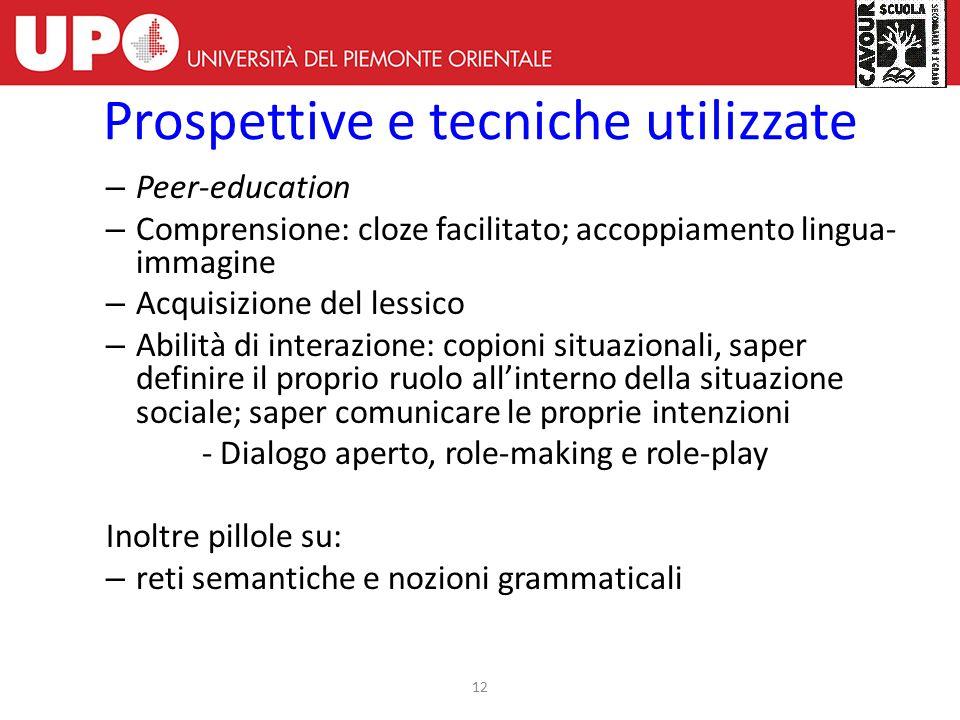 – Peer-education – Comprensione: cloze facilitato; accoppiamento lingua- immagine – Acquisizione del lessico – Abilità di interazione: copioni situazi
