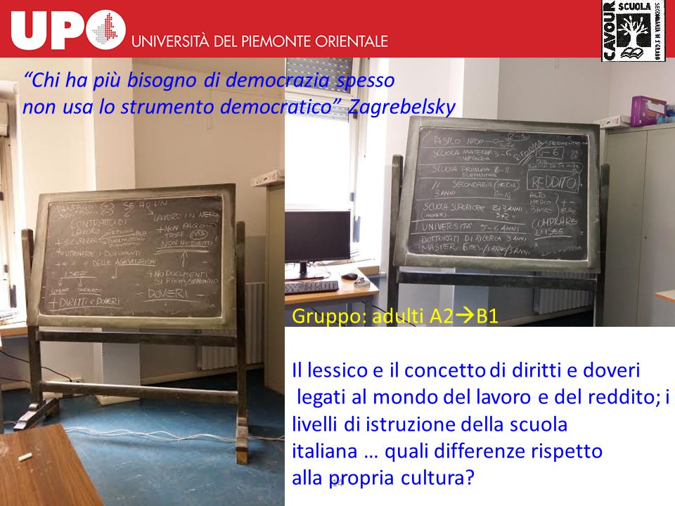 14 Gruppo: adulti A2  B1 Il lessico e il concetto di diritti e doveri legati al mondo del lavoro e del reddito; i livelli di istruzione della scuola
