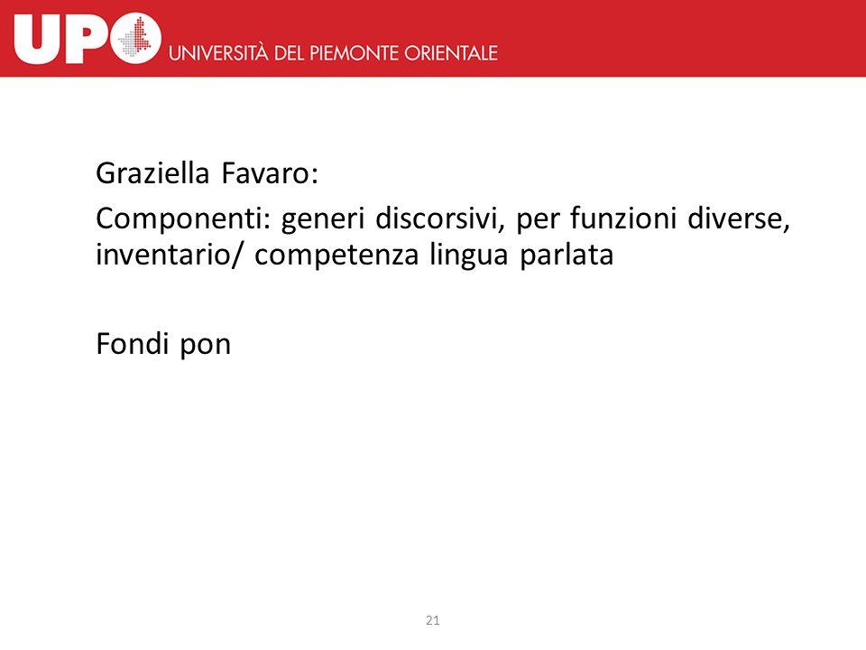 21 Graziella Favaro: Componenti: generi discorsivi, per funzioni diverse, inventario/ competenza lingua parlata Fondi pon
