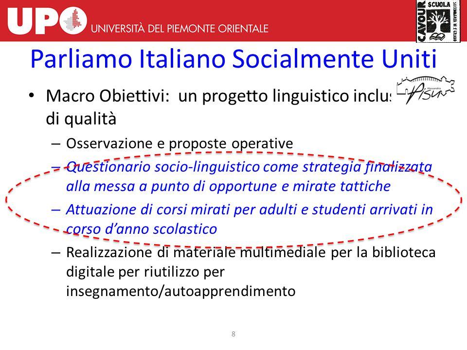 Macro Obiettivi: un progetto linguistico inclusivo e di qualità – Osservazione e proposte operative – Questionario socio-linguistico come strategia fi