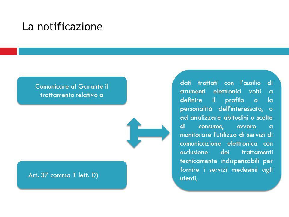 La notificazione Comunicare al Garante il trattamento relativo a Art. 37 comma 1 lett. D) dati trattati con l'ausilio di strumenti elettronici volti a