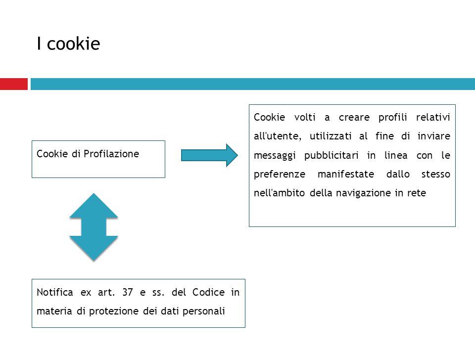 I cookie Cookie di Profilazione Cookie volti a creare profili relativi all'utente, utilizzati al fine di inviare messaggi pubblicitari in linea con le