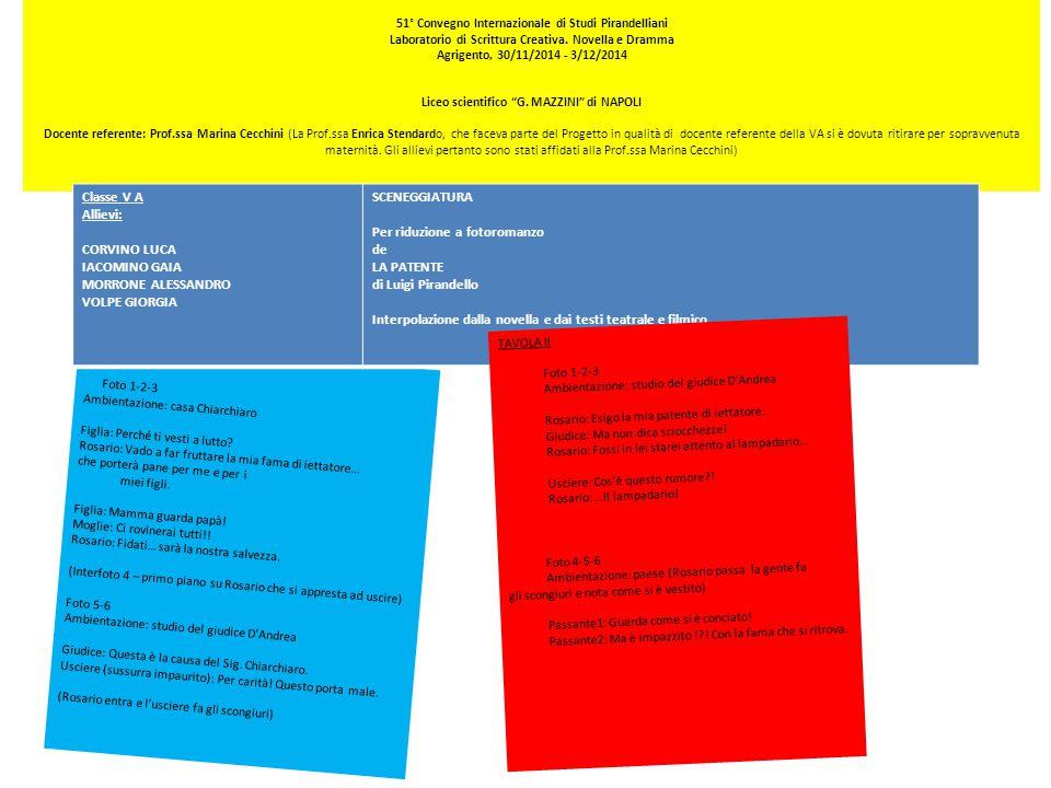 51° Convegno Internazionale di Studi Pirandelliani Laboratorio di Scrittura Creativa.