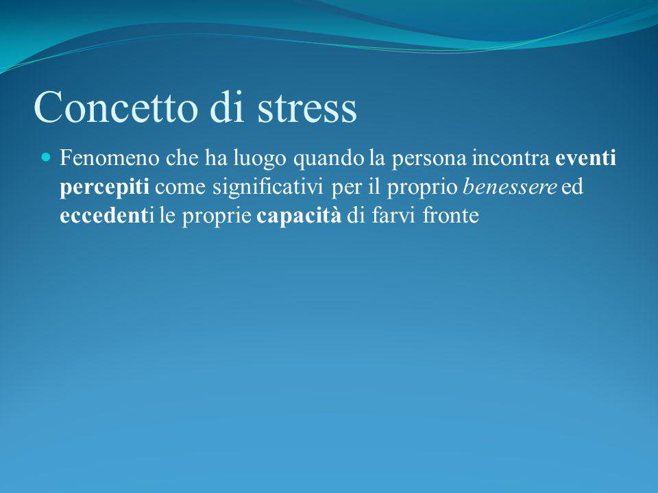 Concetto di stress Fenomeno che ha luogo quando la persona incontra eventi percepiti come significativi per il proprio benessere ed eccedenti le proprie capacità di farvi fronte