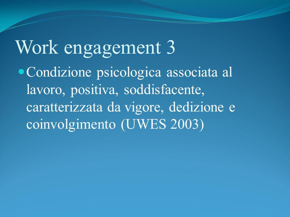 Work engagement 3 Condizione psicologica associata al lavoro, positiva, soddisfacente, caratterizzata da vigore, dedizione e coinvolgimento (UWES 2003)