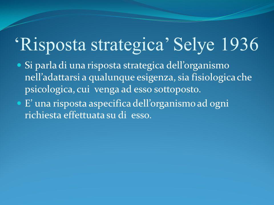 'Risposta strategica' Selye 1936 Si parla di una risposta strategica dell'organismo nell'adattarsi a qualunque esigenza, sia fisiologica che psicologica, cui venga ad esso sottoposto.