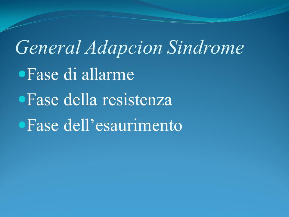 General Adapcion Sindrome Fase di allarme Fase della resistenza Fase dell'esaurimento
