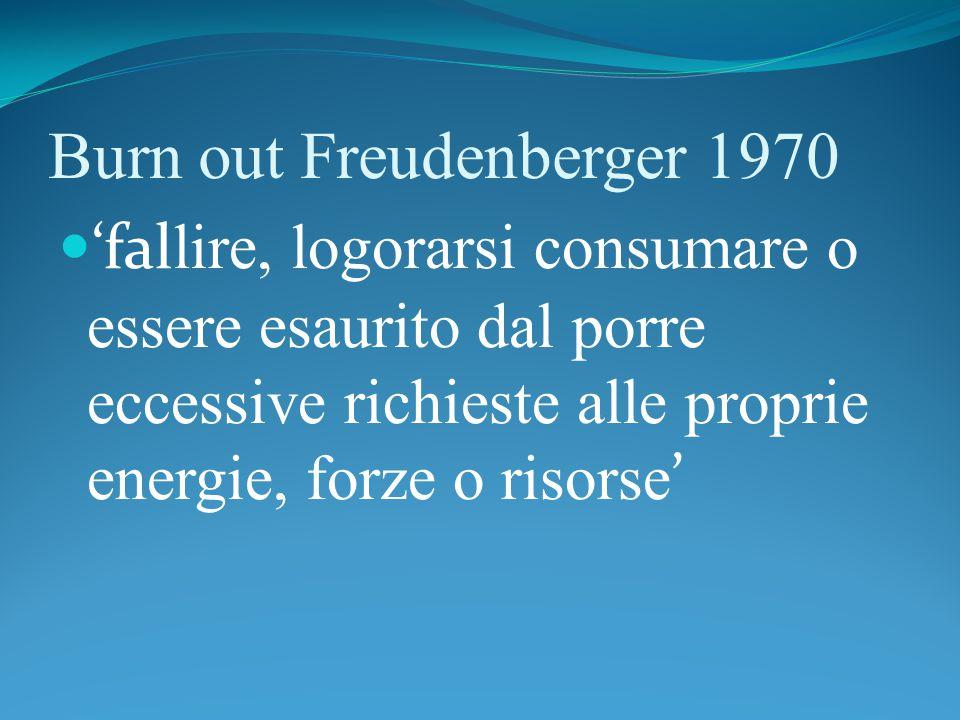 Burn out Freudenberger 1970 'fal lire, logorarsi consumare o essere esaurito dal porre eccessive richieste alle proprie energie, forze o risorse '