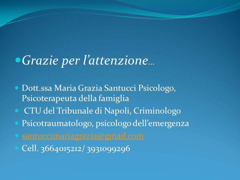 Grazie per l'attenzione … Dott.ssa Maria Grazia Santucci Psicologo, Psicoterapeuta della famiglia CTU del Tribunale di Napoli, Criminologo Psicotraumatologo, psicologo dell'emergenza santuccimariagrazia@gmail.com Cell.