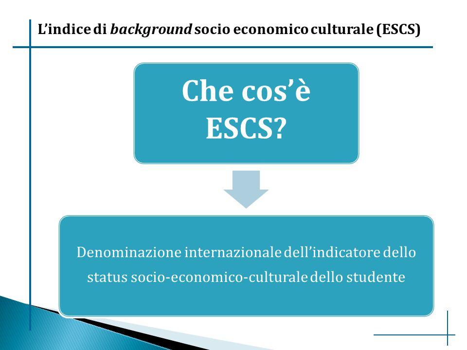 L'indice di background socio economico culturale (ESCS) Che cos'è ESCS? Denominazione internazionale dell'indicatore dello status socio-economico-cult