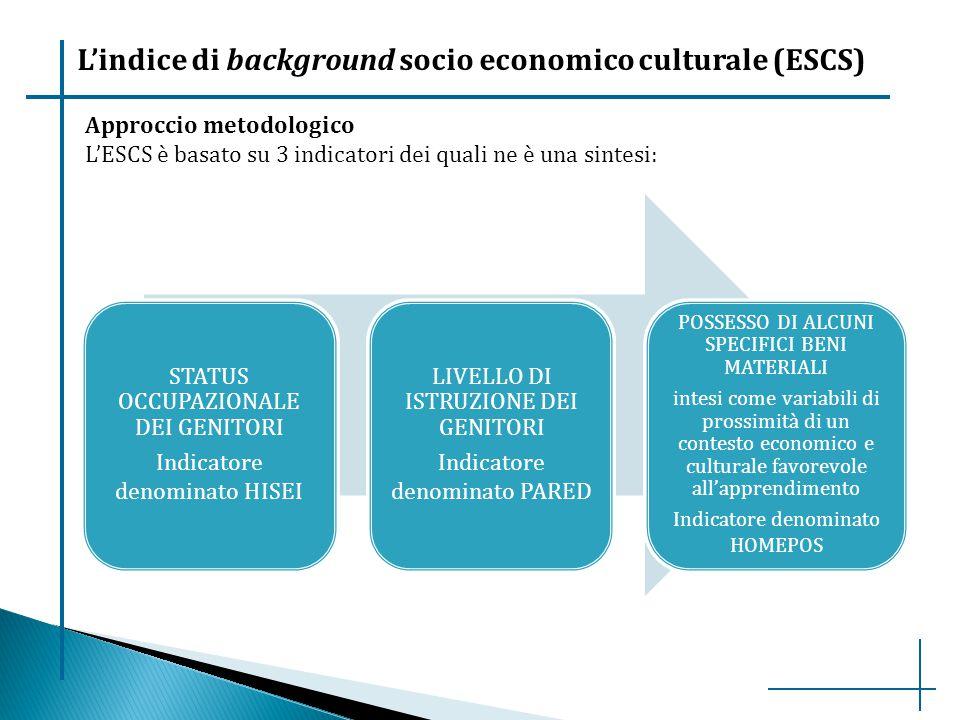 L'indice di background socio economico culturale (ESCS) STATUS OCCUPAZIONALE DEI GENITORI Indicatore denominato HISEI LIVELLO DI ISTRUZIONE DEI GENITO