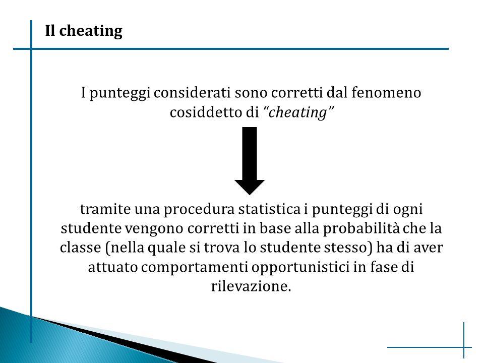 """I punteggi considerati sono corretti dal fenomeno cosiddetto di """"cheating"""" tramite una procedura statistica i punteggi di ogni studente vengono corret"""