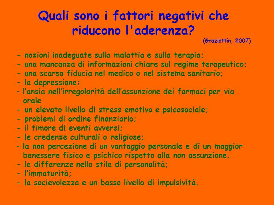 Quali sono i fattori negativi che riducono l aderenza.