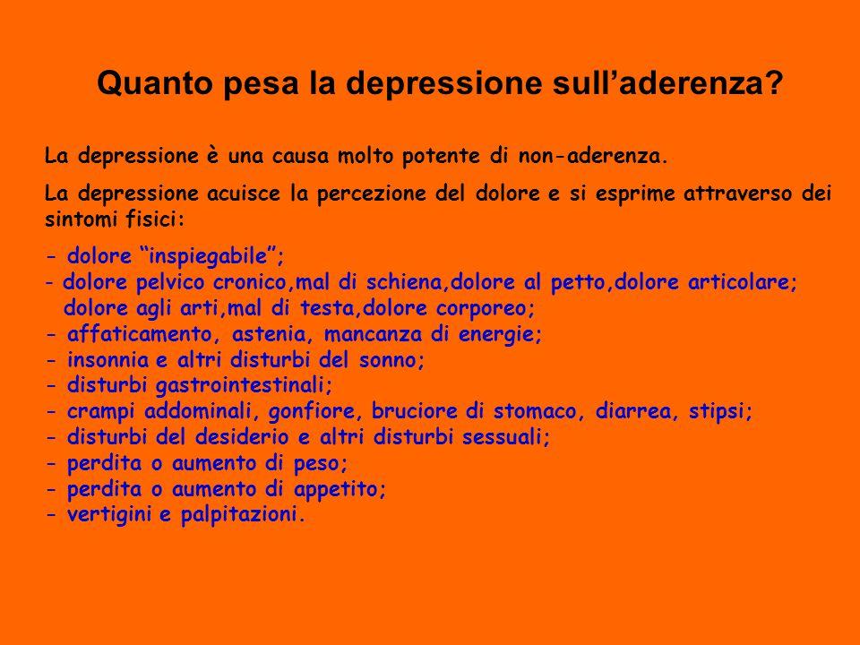 Quanto pesa la depressione sull'aderenza.La depressione è una causa molto potente di non-aderenza.