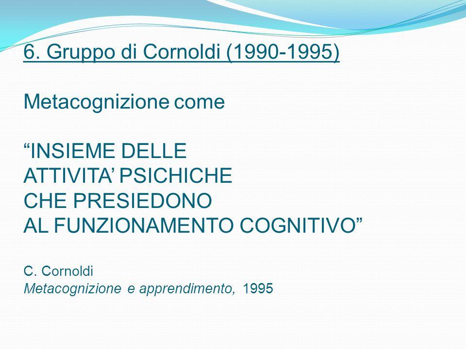 """6. Gruppo di Cornoldi (1990-1995) Metacognizione come """"INSIEME DELLE ATTIVITA' PSICHICHE CHE PRESIEDONO AL FUNZIONAMENTO COGNITIVO"""" C. Cornoldi Metaco"""