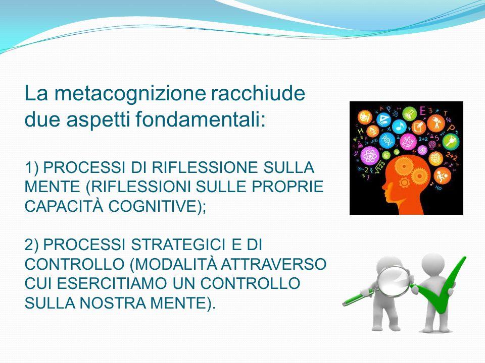 La metacognizione racchiude due aspetti fondamentali: 1) PROCESSI DI RIFLESSIONE SULLA MENTE (RIFLESSIONI SULLE PROPRIE CAPACITÀ COGNITIVE); 2) PROCES
