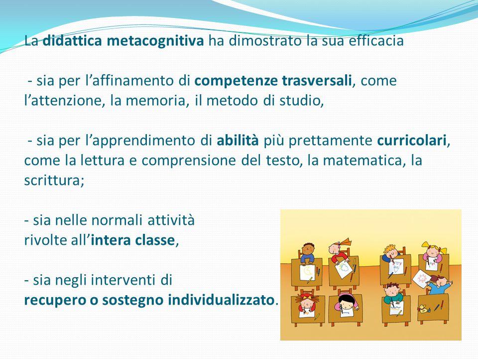 La didattica metacognitiva ha dimostrato la sua efficacia - sia per l'affinamento di competenze trasversali, come l'attenzione, la memoria, il metodo