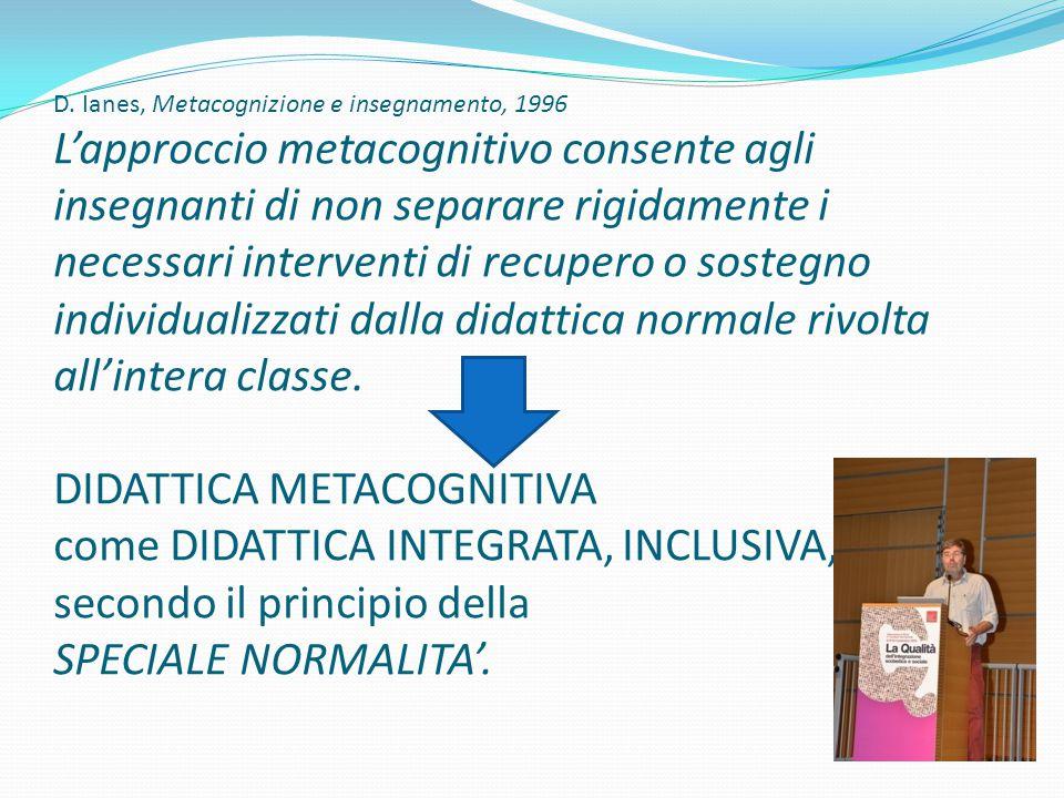 D. Ianes, Metacognizione e insegnamento, 1996 L'approccio metacognitivo consente agli insegnanti di non separare rigidamente i necessari interventi di