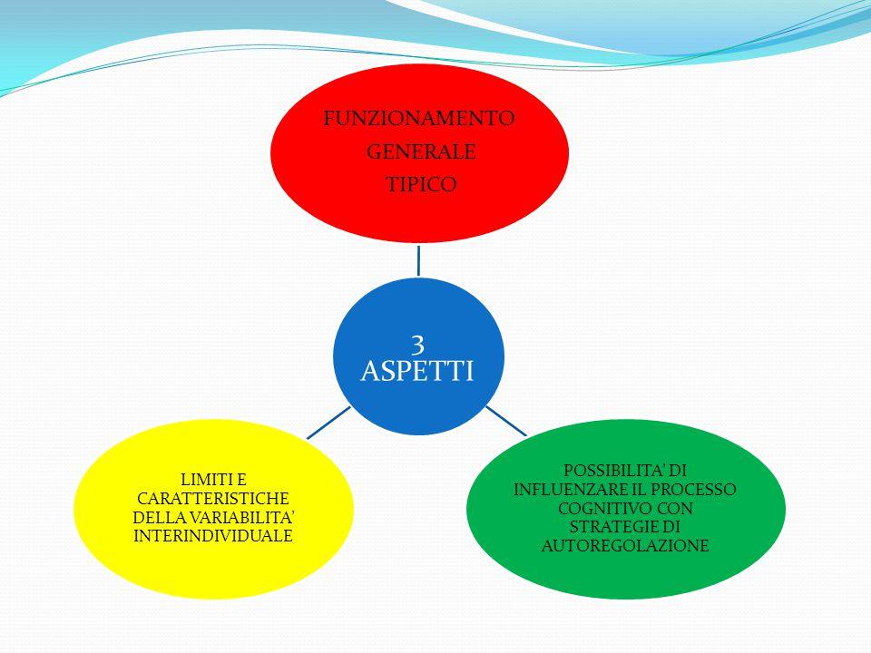 3 ASPETTI FUNZIONAMENTO GENERALE TIPICO POSSIBILITA' DI INFLUENZARE IL PROCESSO COGNITIVO CON STRATEGIE DI AUTOREGOLAZIONE LIMITI E CARATTERISTICHE DE