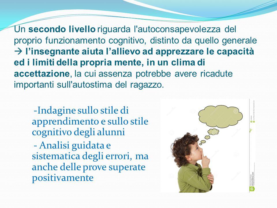 Un secondo livello riguarda l'autoconsapevolezza del proprio funzionamento cognitivo, distinto da quello generale  l'insegnante aiuta l'allievo ad ap