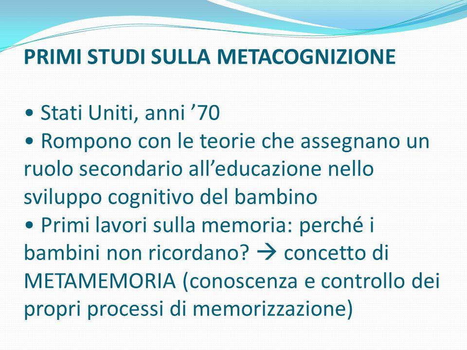 Da L.Cottini, La didattica metacognitiva MODELLI ESPLICATIVI NELLO STUDIO DELLA METACOGNIZIONE: 1.