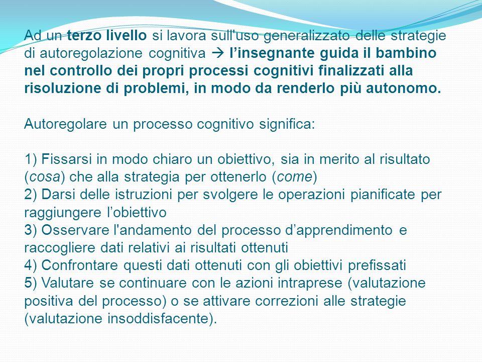 Ad un terzo livello si lavora sull'uso generalizzato delle strategie di autoregolazione cognitiva  l'insegnante guida il bambino nel controllo dei pr