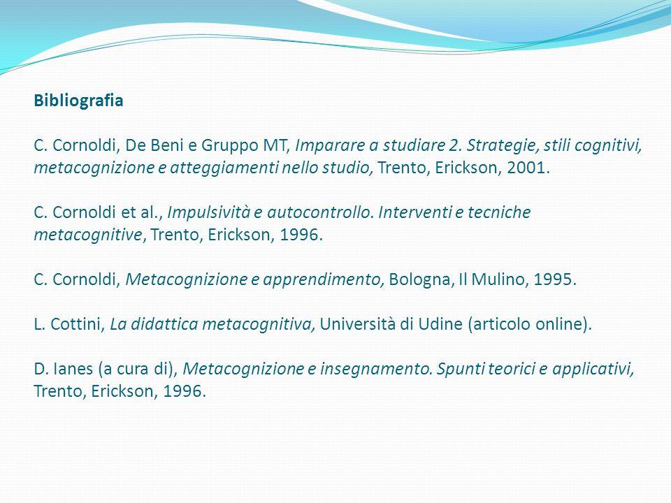Bibliografia C. Cornoldi, De Beni e Gruppo MT, Imparare a studiare 2. Strategie, stili cognitivi, metacognizione e atteggiamenti nello studio, Trento,