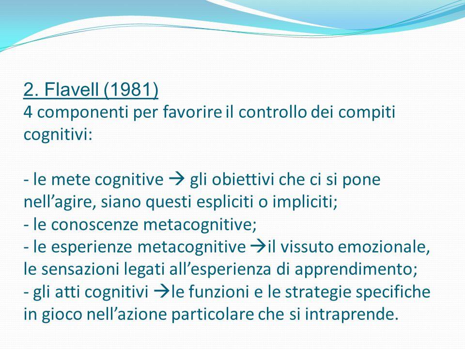 2. Flavell (1981) 4 componenti per favorire il controllo dei compiti cognitivi: - le mete cognitive  gli obiettivi che ci si pone nell'agire, siano q
